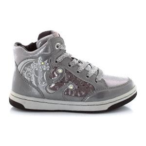 Zapatillas deportivas de caña semi-alta JR Creamy, con cordones, brillantes y estrás GEOX