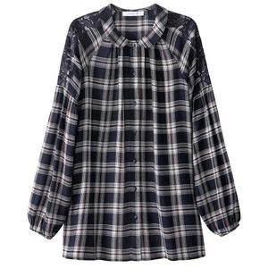 Chemise à carreaux, détail macramé MADEMOISELLE R