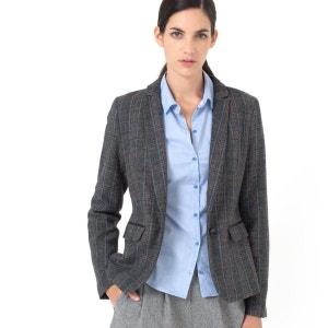 Chaqueta sastre estampada a cuadros, 25% lana LAURA CLEMENT