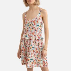 Vestido corto de tirantes con estampado de flores, cruzado en la espalda