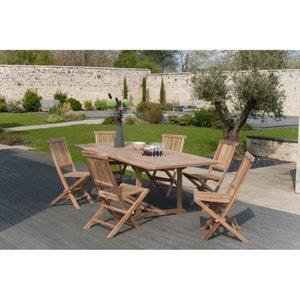 Salon jardin Teck table extensible 180/240cm 6 chaises SUMMER PIER IMPORT