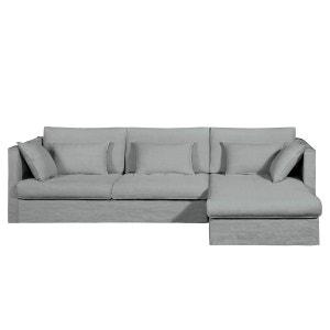 Canapé d'angle fixe Camille, lin épais AM.PM