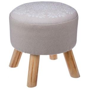 Tabouret pouf rond pieds en bois rosace blanche PIER IMPORT