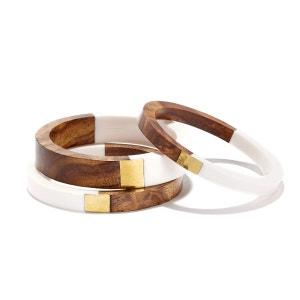Bracelets ronds métal et bois, lot de 3 La Redoute Collections