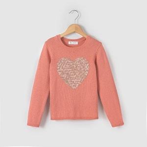 Sweter z cekinowym sercem 3-12 lat La Redoute Collections