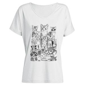 Tshirt Imprimé Bio Tencel Blanc Col V Femme Chatons ARTECITA