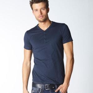 T-shirt Y boutonné uni manches courtes R edition SHOPPING PRIX