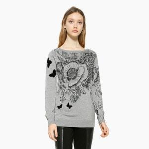 Trui in fijn tricot met ronde hals DESIGUAL