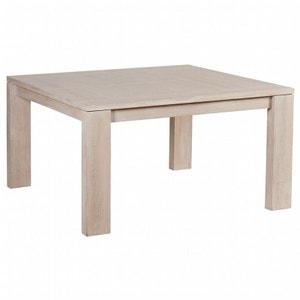Table de repas extensible Chêne massif ciré blanchi 140x140x77cm MANILLE PIER IMPORT