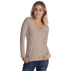 T-shirt col V manches longues en modal JUNE RENDEZ-VOUS PARIS
