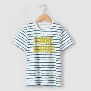 Camiseta a rayas con mensaje estampado 3-12 años La Redoute Collections