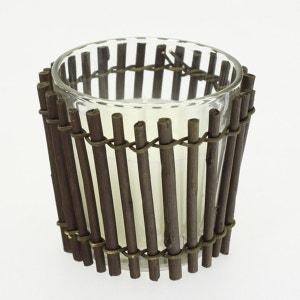 Bougie décorative en pot de verre et habillage bambou COMPTOIR DES BOUGIES