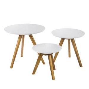 Lot de 3 tables basses bois scandinaves Soren DRAWER