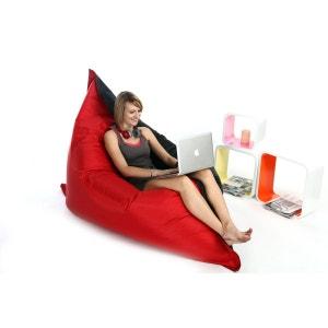 Pouf géant design polyester bicolore noir et rouge BIG MILIBAG MILIBOO