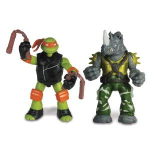 Figurine Tortues Ninja : 2 figurines à fonction : Michelangelo vs. Rocksteady GIOCHI PREZIOSI