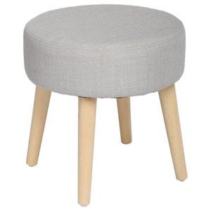 Tabouret pouf rond esprit Scandinave en tissu gris clair et pieds bois D35xH35cm PIER IMPORT