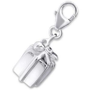 Charm Pampille à Fermoir Paquet Cadeau Oxyde de Zirconium Blanc Argent 925 SO CHIC BIJOUX