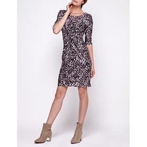 Bedrucktes Kleid mit 3/4-Ärmeln, eng anliegend YUMI