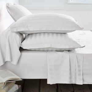 Fronhas em cetim de algodão, tecelagem às riscas no mesmo tom La Redoute Interieurs