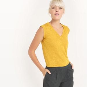 T-shirt met V-hals, Linnen R essentiel