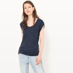 Camiseta con cuello redondo de viscosa vaporosa R essentiel