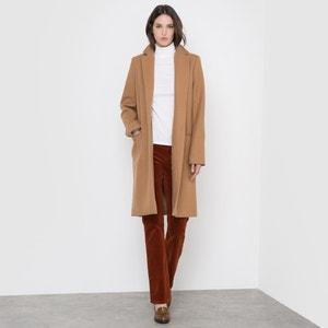 Długi płaszcz z kołnierzem wykładanym 60% wełny R essentiel