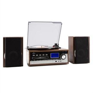 auna Deerwood Chaîne stéréo Tourne-disque USB MP3 Encodage CD Cassette FM AUX AUNA