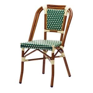 Chaise bistrot DAVE alu et polyrotin vert - Rotin Design Garden ROTIN DESIGN