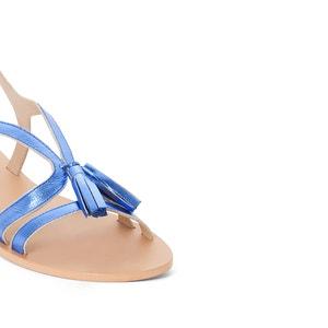 Sandales plates cuir détail pompons MADEMOISELLE R