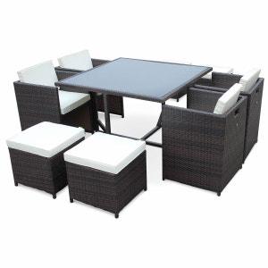 Salon de jardin Vasto Chocolat table en résine tressée 4 à 8 places, fauteuils encastrables ALICE S GARDEN