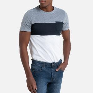 Driekleurig T-shirt met ronde hals en korte mouwen