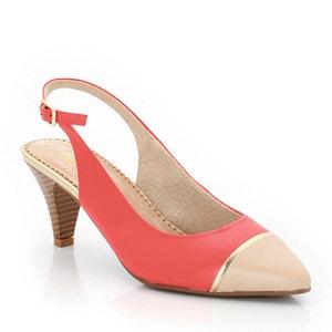 Sapatos abertos, bicolores, presilha atrás, em pele ANNE WEYBURN