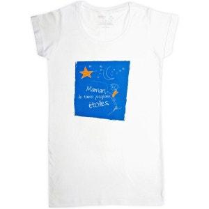 T-shirt femme long blanc en coton Maman je t'aime jusqu'aux étoiles RIGOLOBO