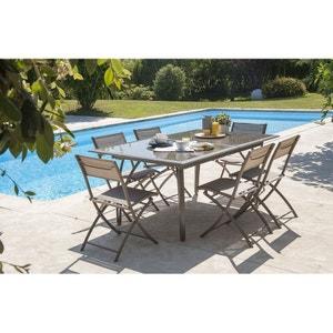 Salon de jardin - Table et 6 chaises cappuccino LE REVE CHEZ VOUS