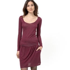 Vestido de punto estampado, cuello redondo, mangas 3/4 LES PETITS PRIX