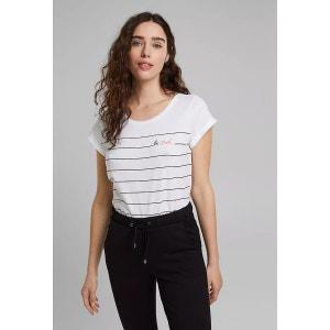 Camiseta de cuello redondo y manga corta con motivo