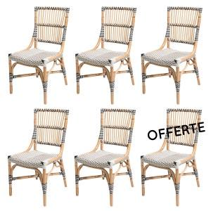 lot 6 Chaises bistrot blanche - Vigo - Polyrotin ROTIN DESIGN
