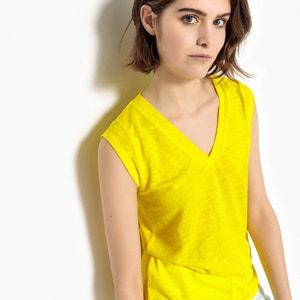 Linen V-Neck T-Shirt La Redoute Collections