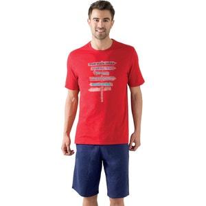 Printed Short Pyjamas with a Short Sleeved Top ATHENA