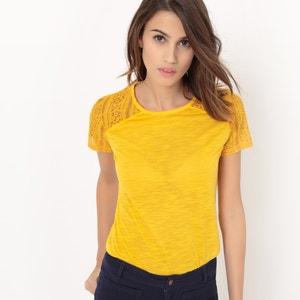 Effen T-shirt met korte mouwen en inzetstuk in kant R édition