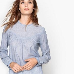 Blusa estampada de lunares con cuello redondo, de manga larga ESPRIT
