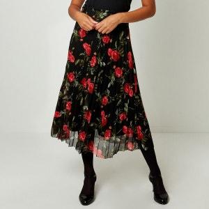 Falda semilarga plisada, motivo de flores