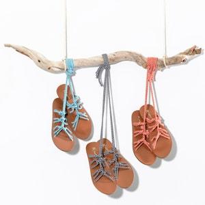 Sandálias rasas com presilhas e atacadores La Redoute Collections