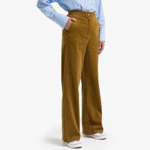 Wijde rechte broek in geribd fluweel