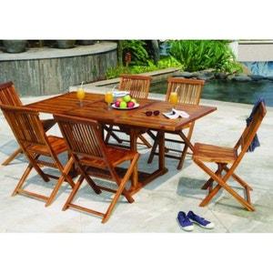 Table de jardin en teck huilé rectangle extensible 120/180x90x75 MACAO PIER IMPORT
