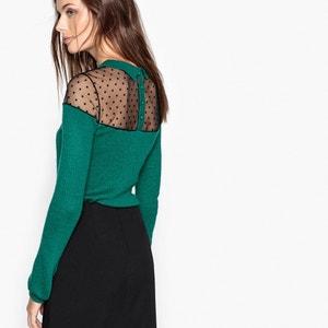 Pullover mit kleinem Kragen, oberer Teil aus Tupfenmull MADEMOISELLE R
