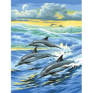 Peinture par n° débutant - Dauphins - OZIPBNJ1 OZ INTERNATIONAL
