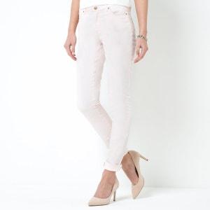 Pantalon slim 5 poches, coton stretch enduit R essentiel