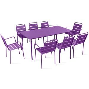 Table de jardin et 8 fauteuils en métal BOUTIQUE-JARDIN