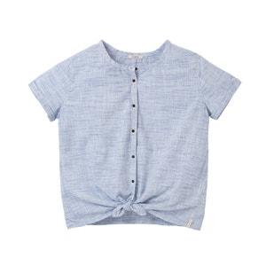 Blusa abotonada de manga corta y lazo LEE